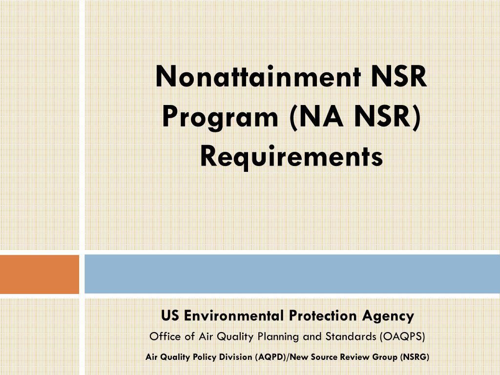 Nonattainment NSR Program (NA NSR)