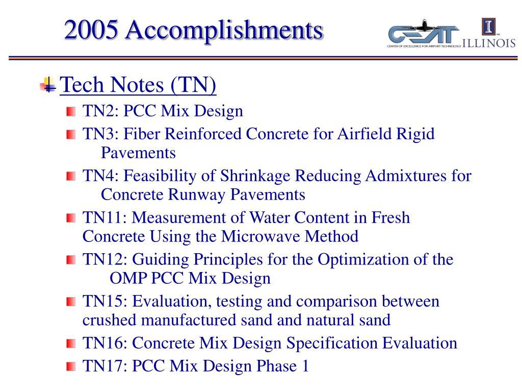 2005 Accomplishments