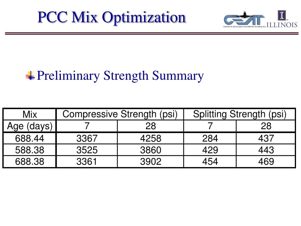 PCC Mix Optimization