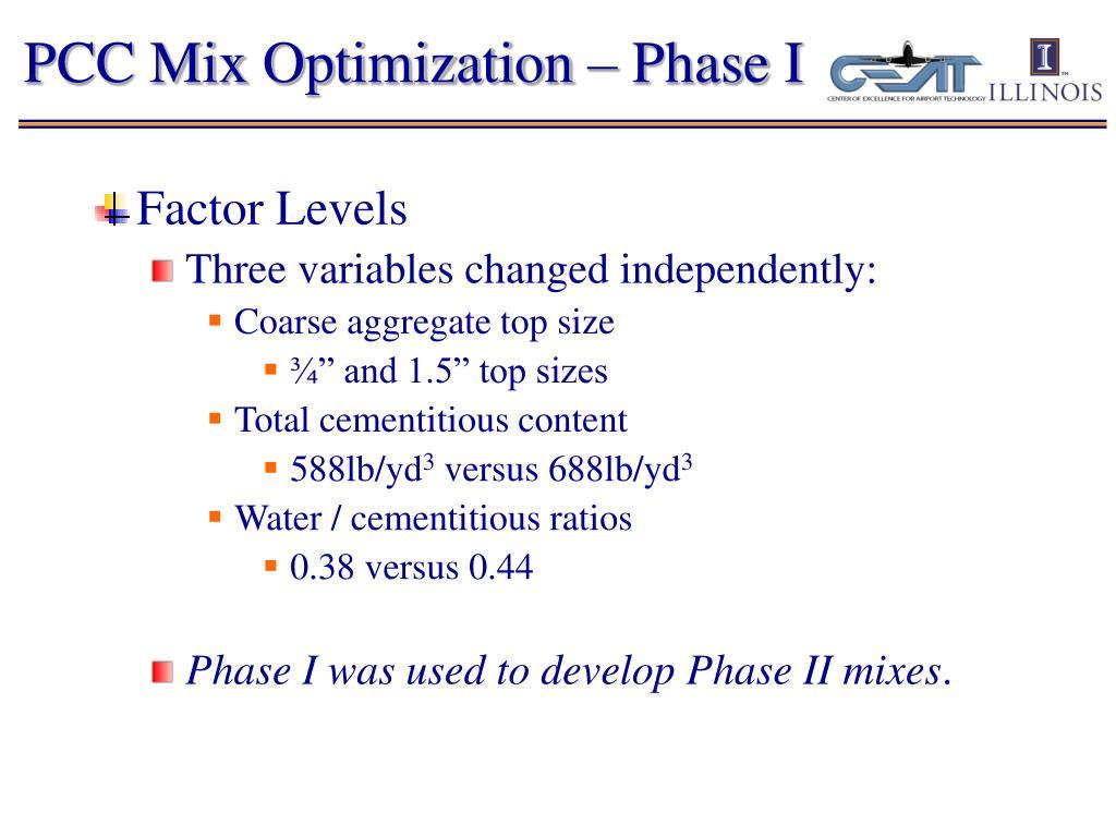 PCC Mix Optimization – Phase I