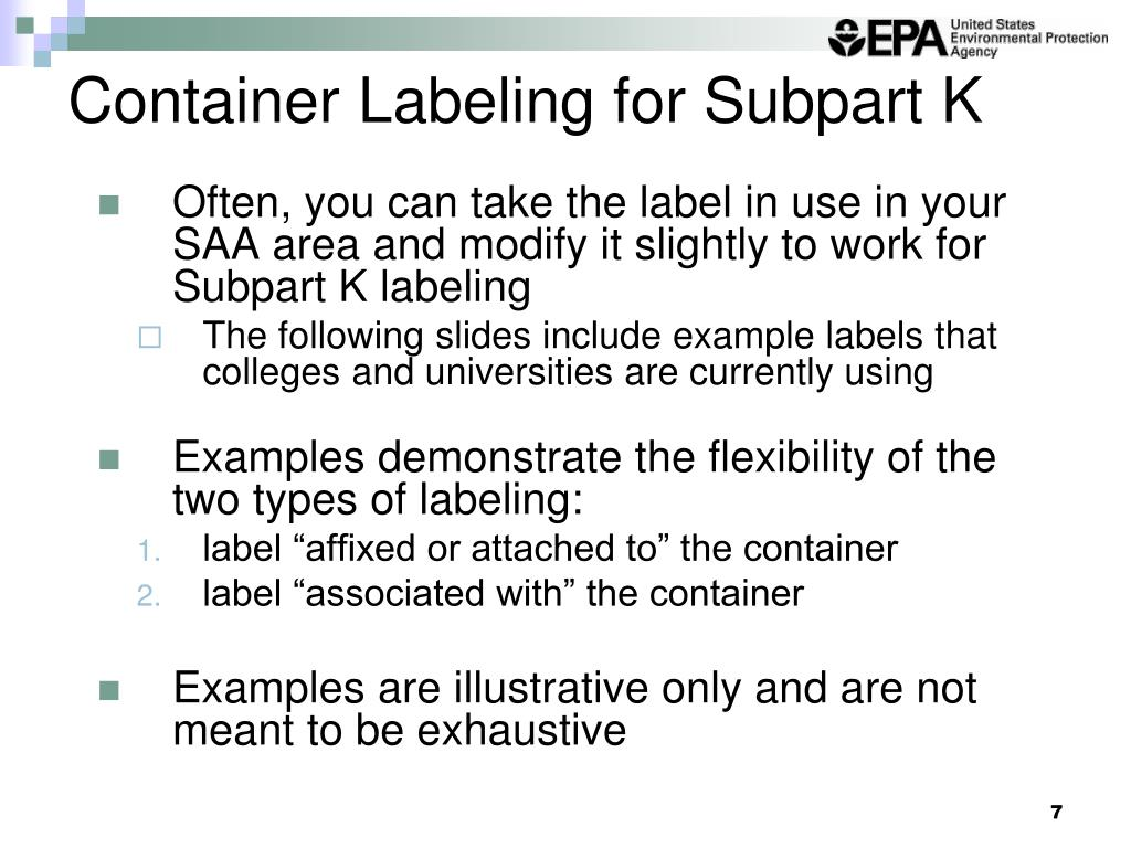 Container Labeling for Subpart K