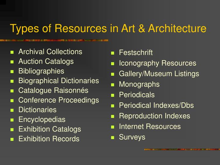 Types of resources in art architecture