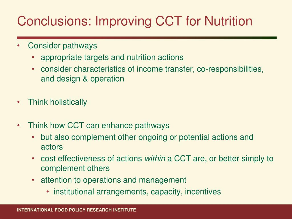 Conclusions: Improving CCT for Nutrition