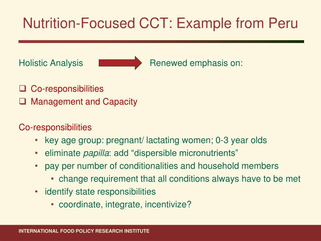 Nutrition-Focused CCT: Example from Peru