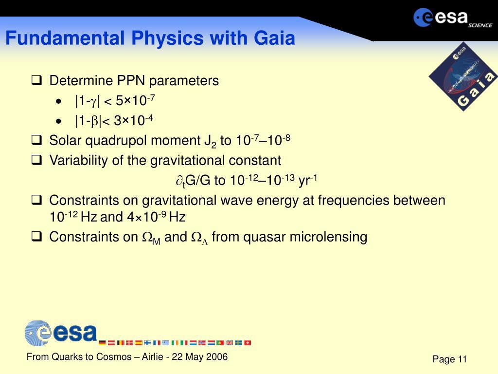 Fundamental Physics with Gaia