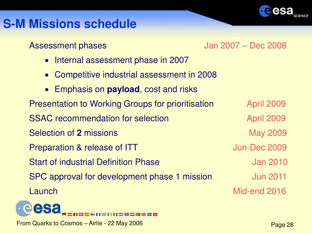 S-M Missions schedule