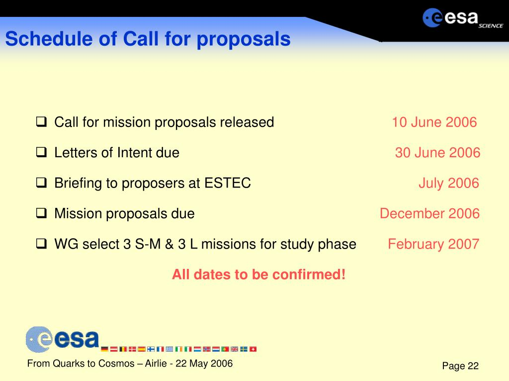 Schedule of Call for proposals