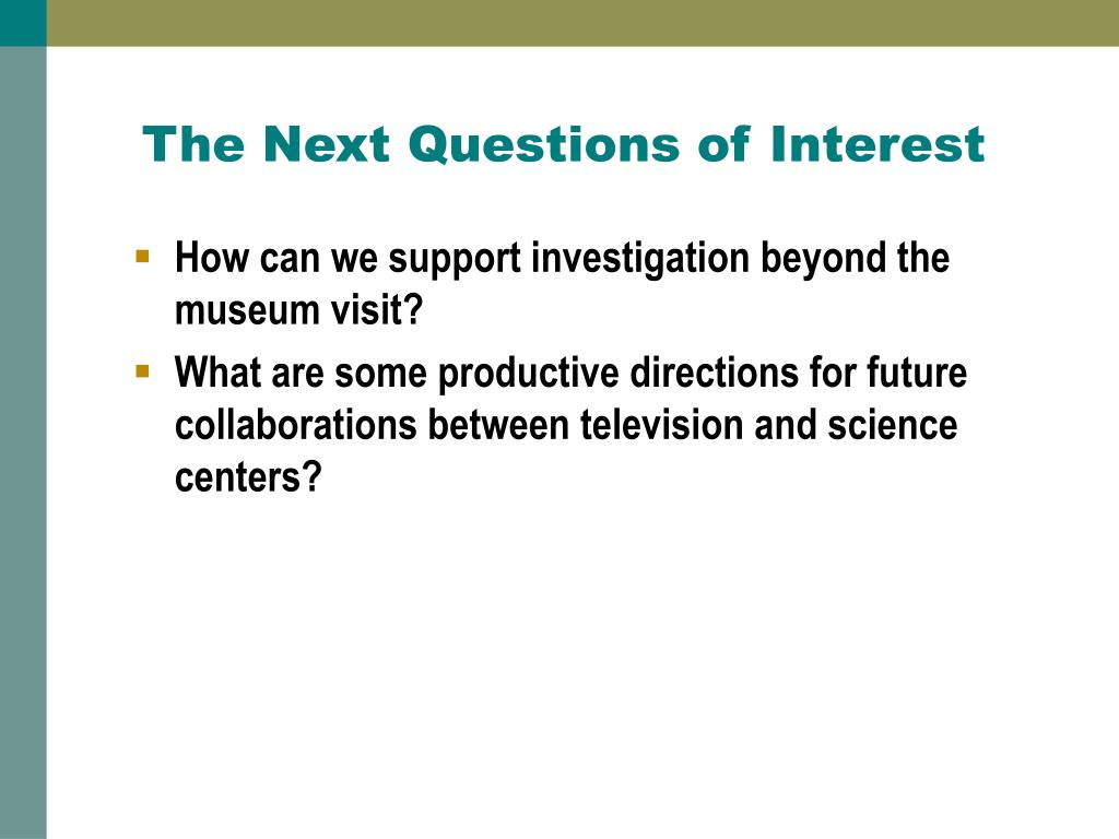 The Next Questions of Interest