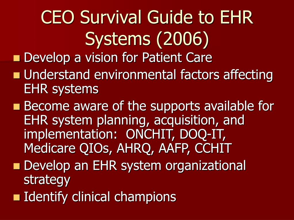 CEO Survival Guide to EHR Systems (2006)