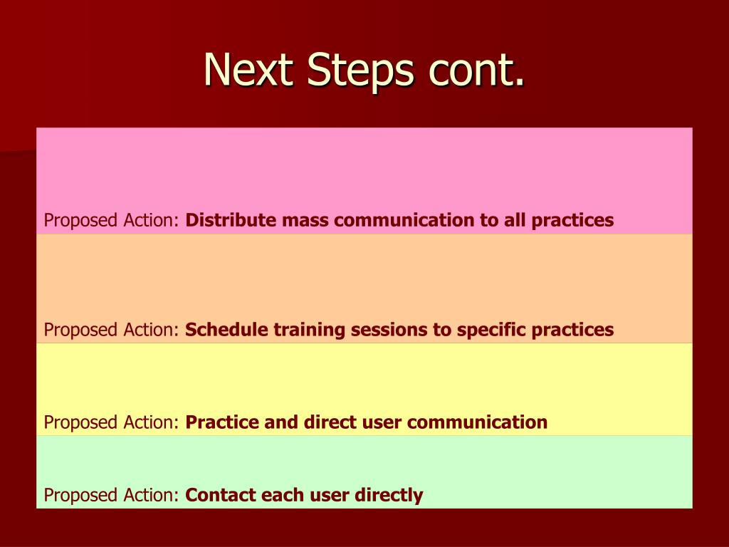 Next Steps cont.