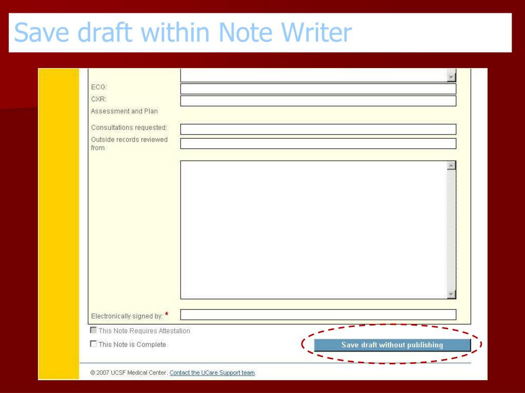 Save draft within Note Writer