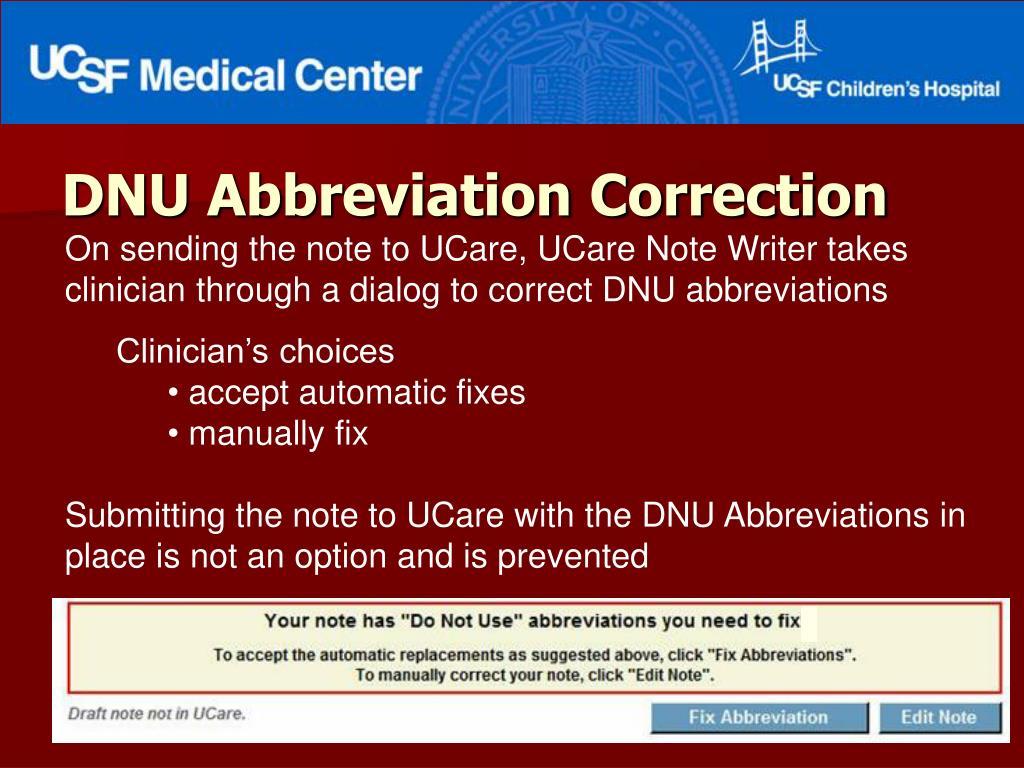 DNU Abbreviation Correction