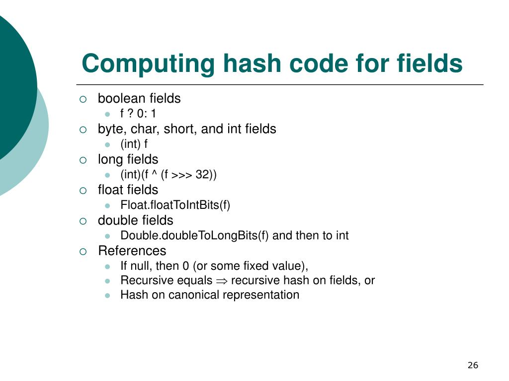 Computing hash code for fields