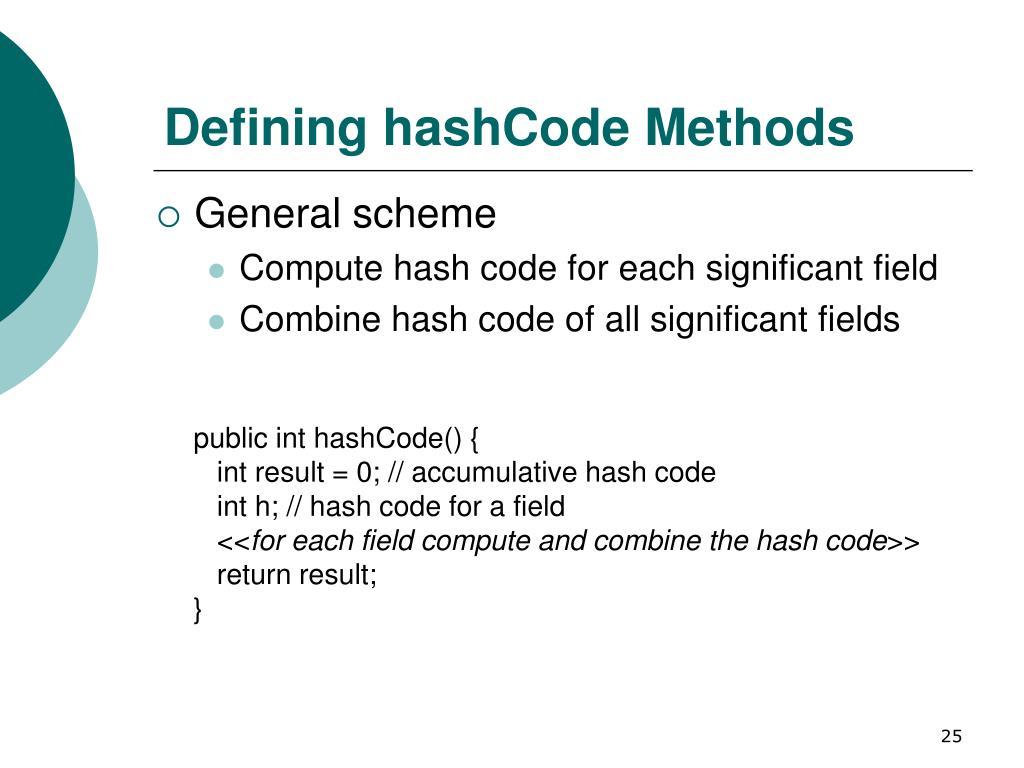 Defining hashCode Methods
