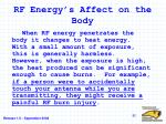 rf energy s affect on the body