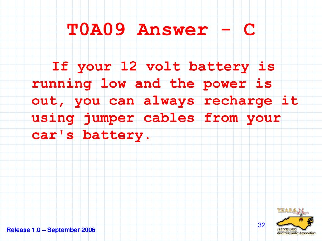 T0A09 Answer - C