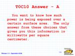t0c10 answer a