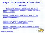 ways to prevent electrical shock