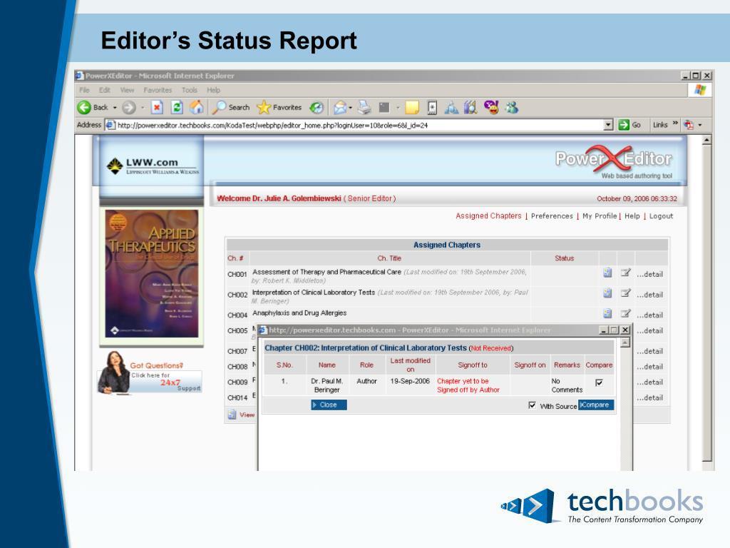 Editor's Status Report