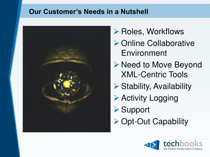 Our customer s needs in a nutshell