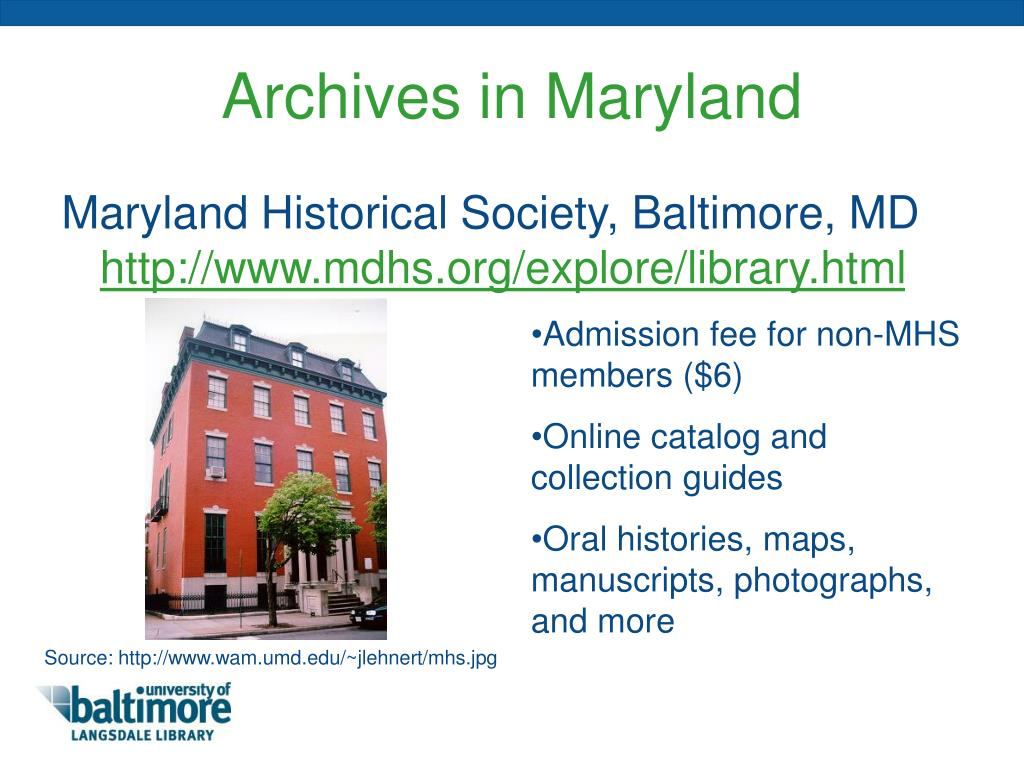 Archives in Maryland