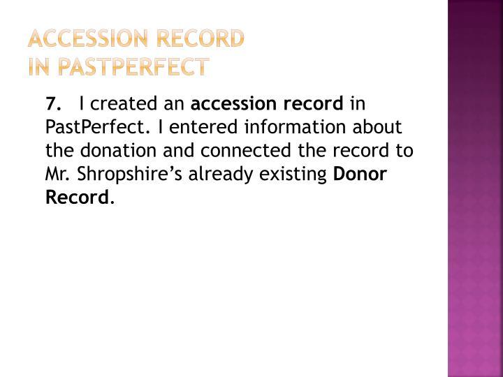 Accession Record