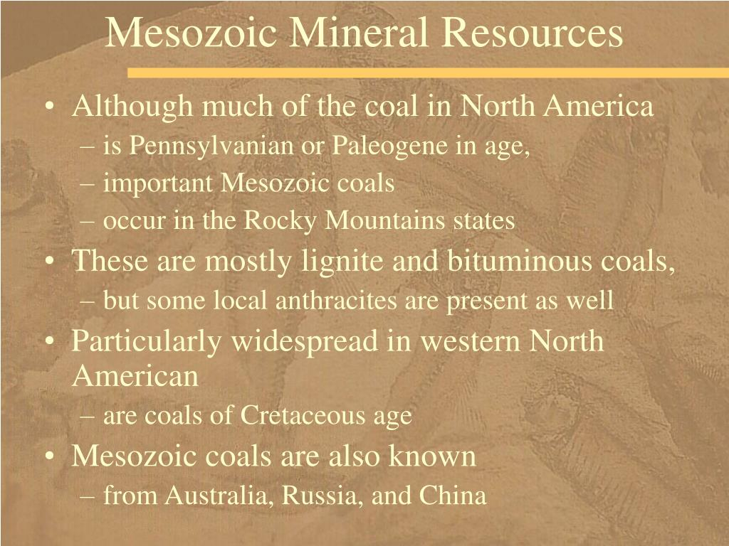 Mesozoic Mineral Resources