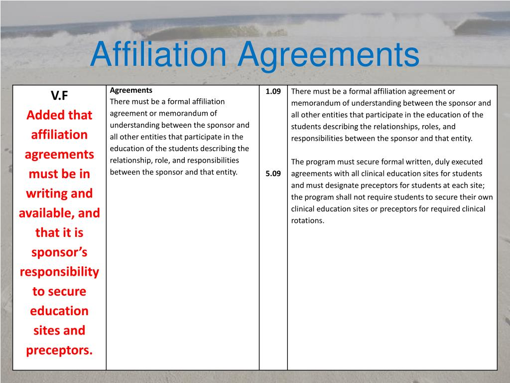 Affiliation Agreements