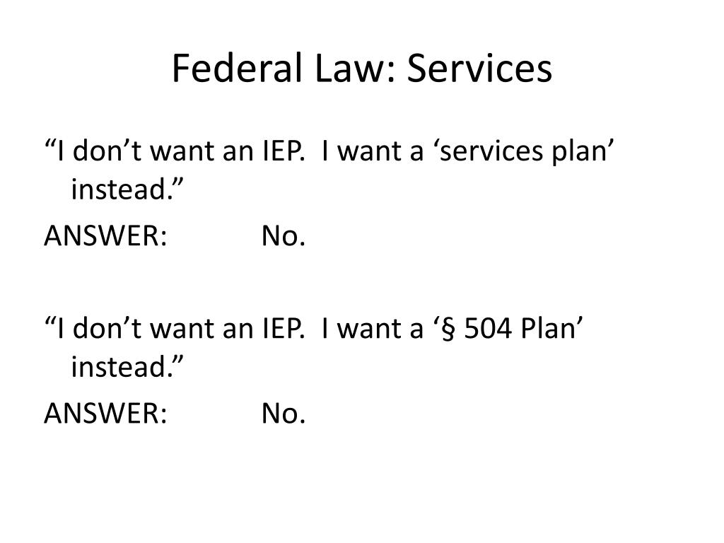 Federal Law: Services