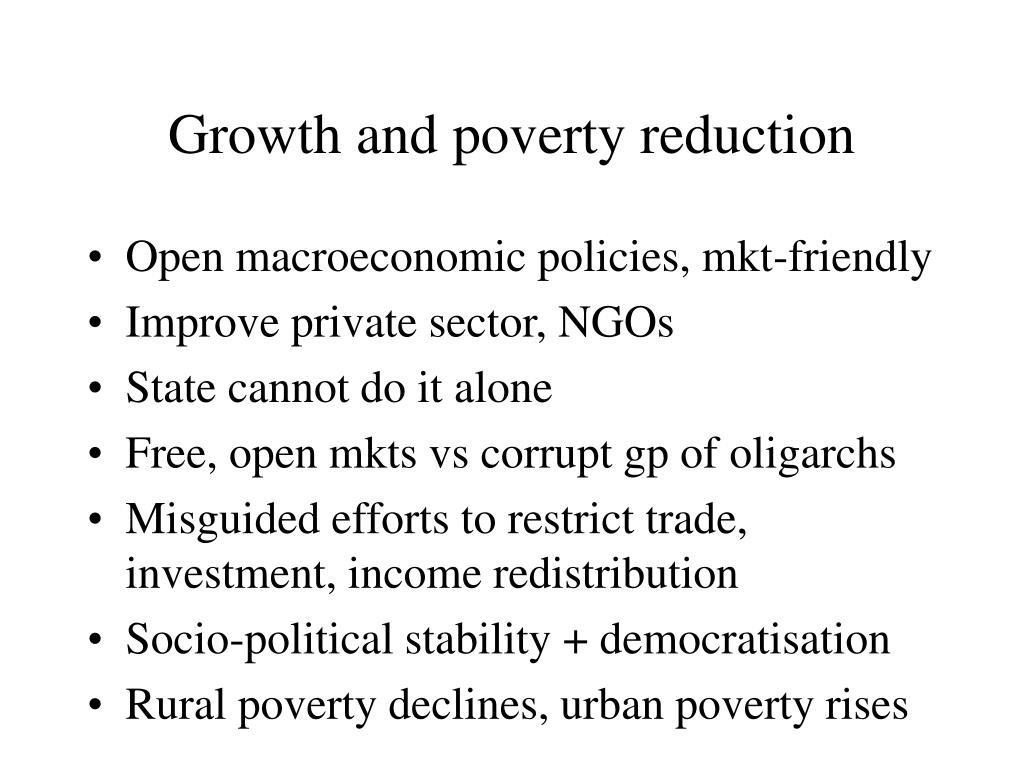Growth and poverty reduction