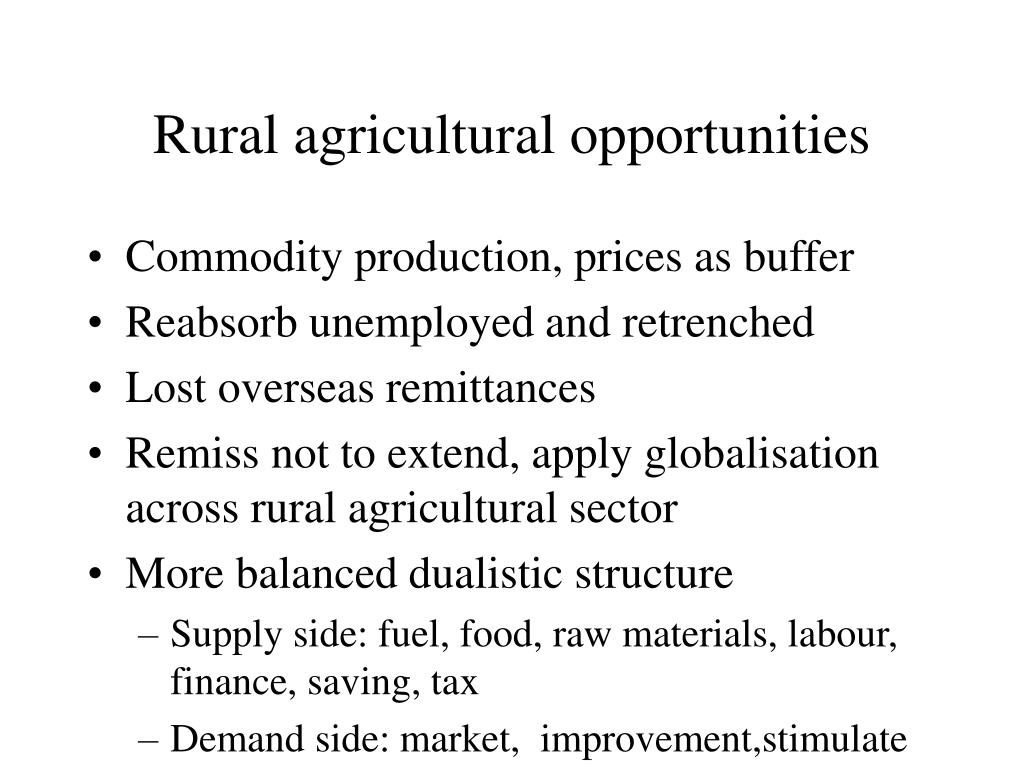 Rural agricultural opportunities