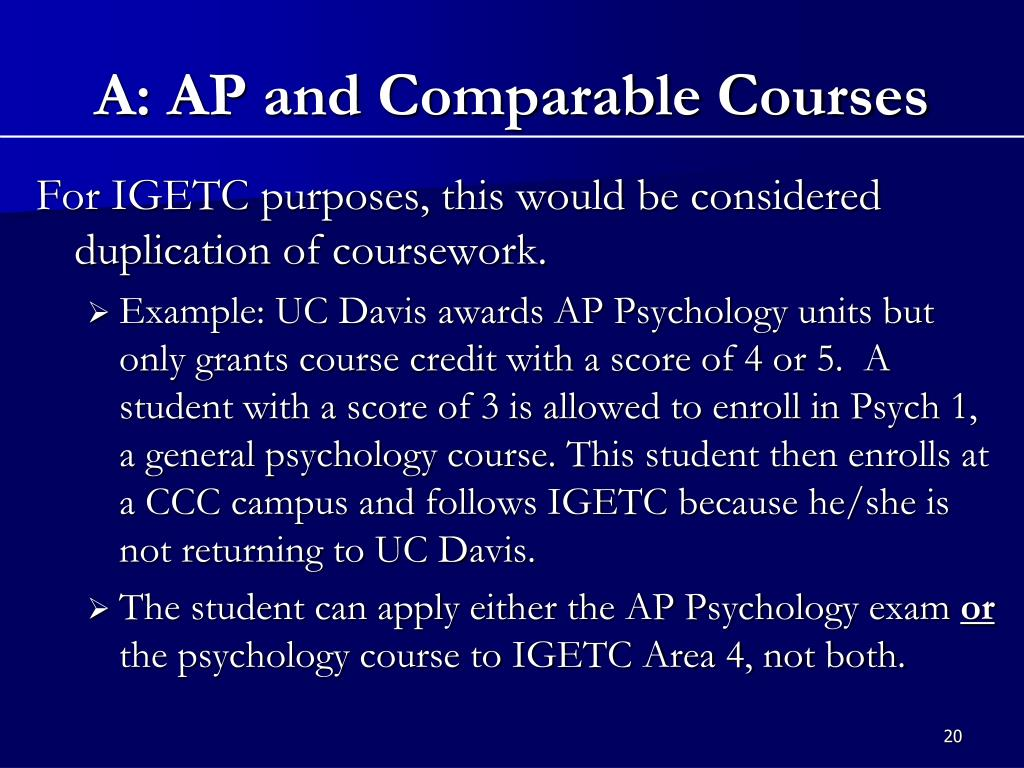 A: AP and Comparable Courses