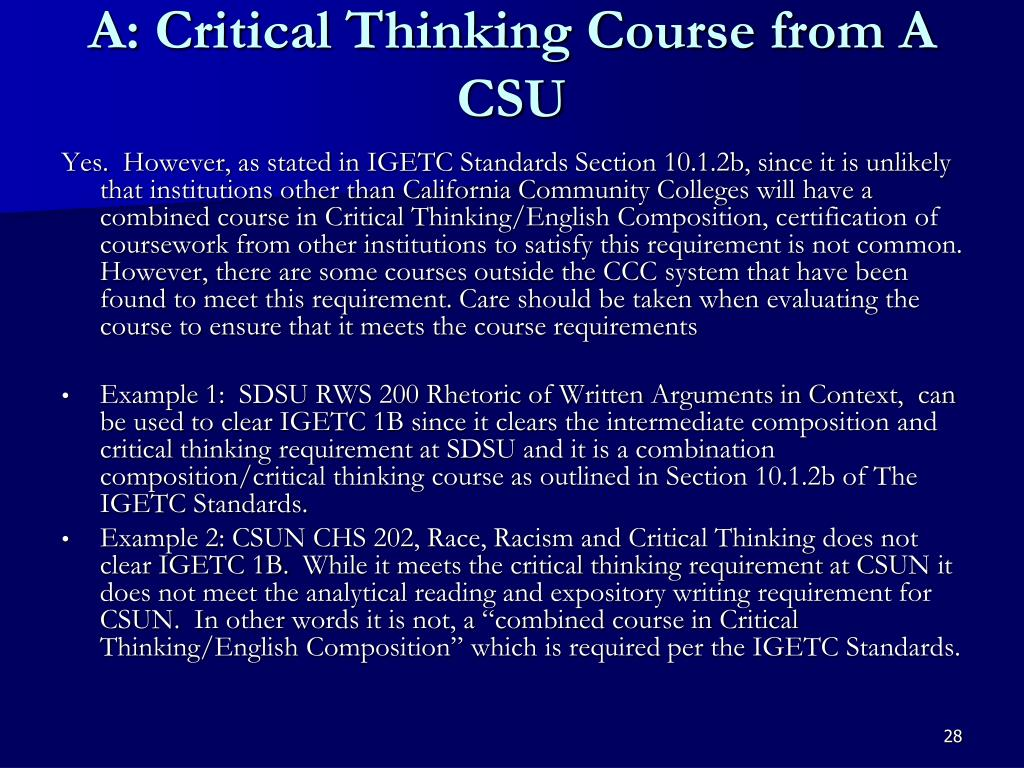 A: Critical Thinking Course from A CSU