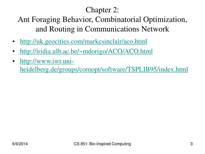 Chapter 2 ant foraging behavior combinatorial optimization and routing in communications network