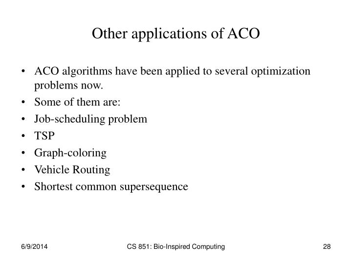 Other applications of ACO