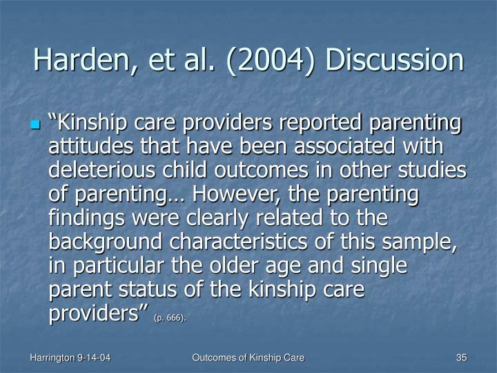 Harden, et al. (2004) Discussion
