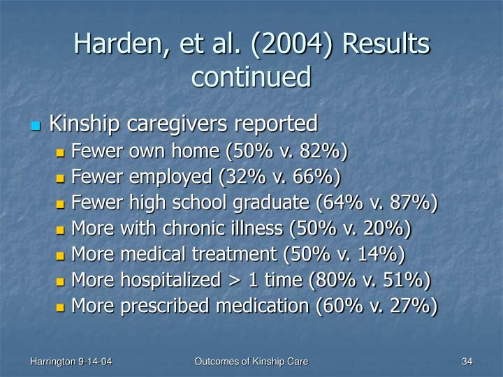 Harden, et al. (2004) Results continued