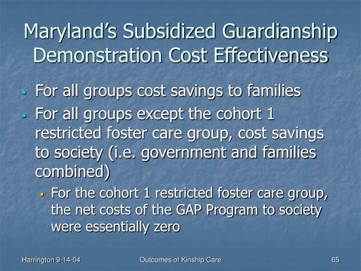 Maryland's Subsidized Guardianship Demonstration Cost Effectiveness