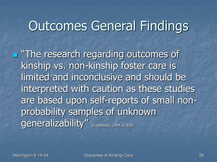 Outcomes General Findings