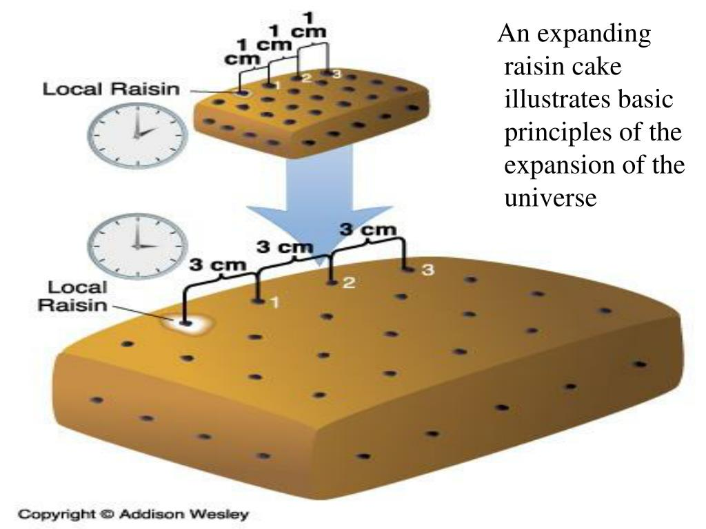 An expanding raisin cake illustrates basic principles of the expansion of the universe