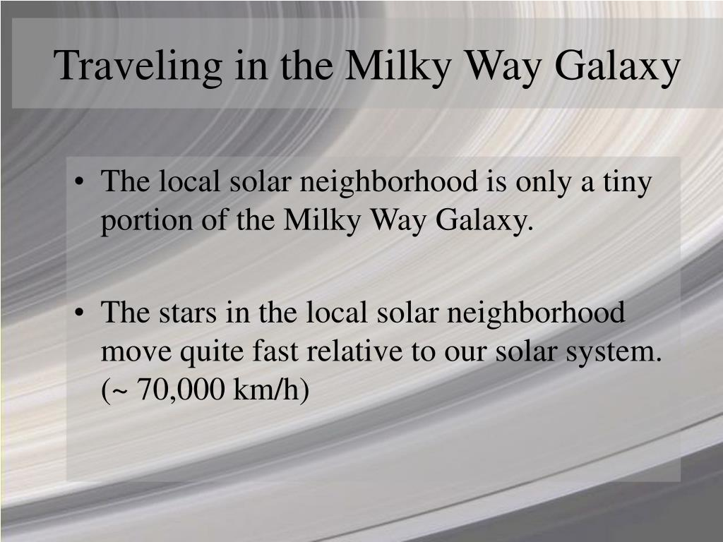 Traveling in the Milky Way Galaxy