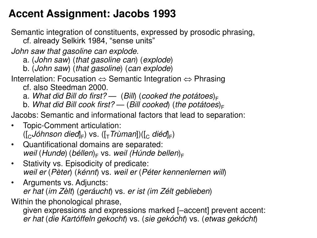 Accent Assignment: Jacobs 1993