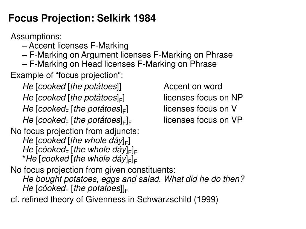 Focus Projection: Selkirk 1984