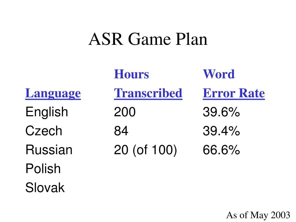 ASR Game Plan