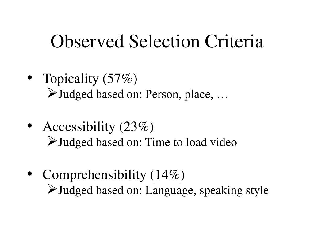 Observed Selection Criteria