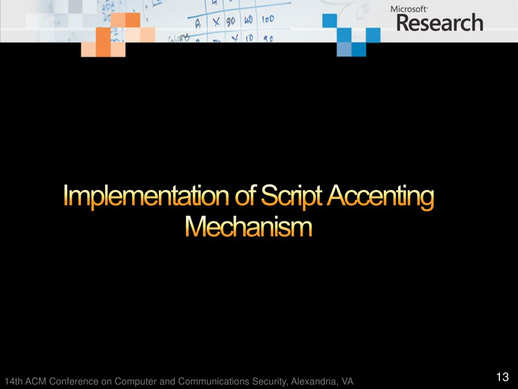 Implementation of Script Accenting Mechanism