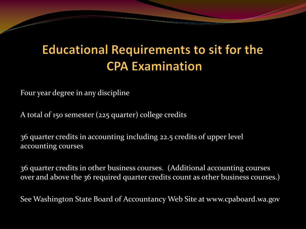 Educational Requirements to sit for the