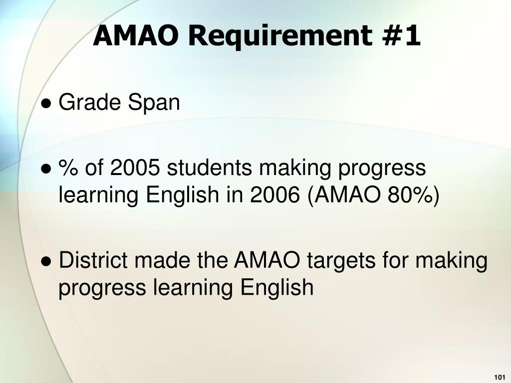 AMAO Requirement #1