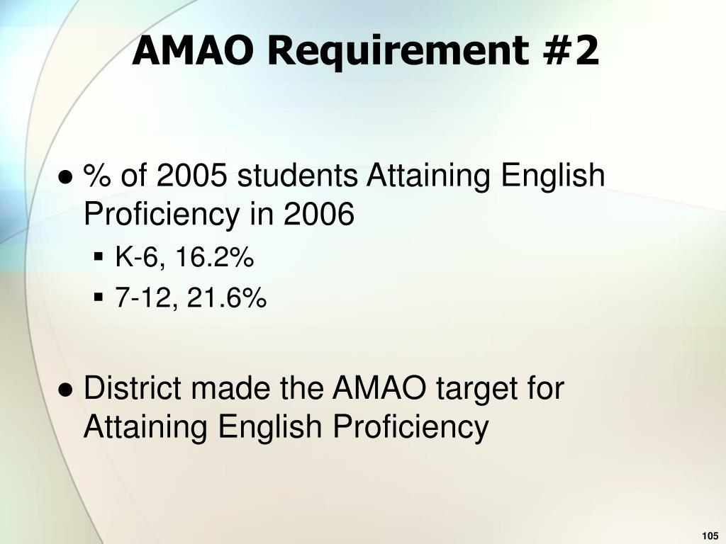 AMAO Requirement #2