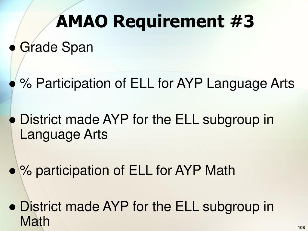 AMAO Requirement #3